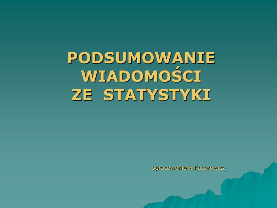 PODSUMOWANIE WIADOMOŚCI ZE STATYSTYKI opracowanie M.Kacprowicz