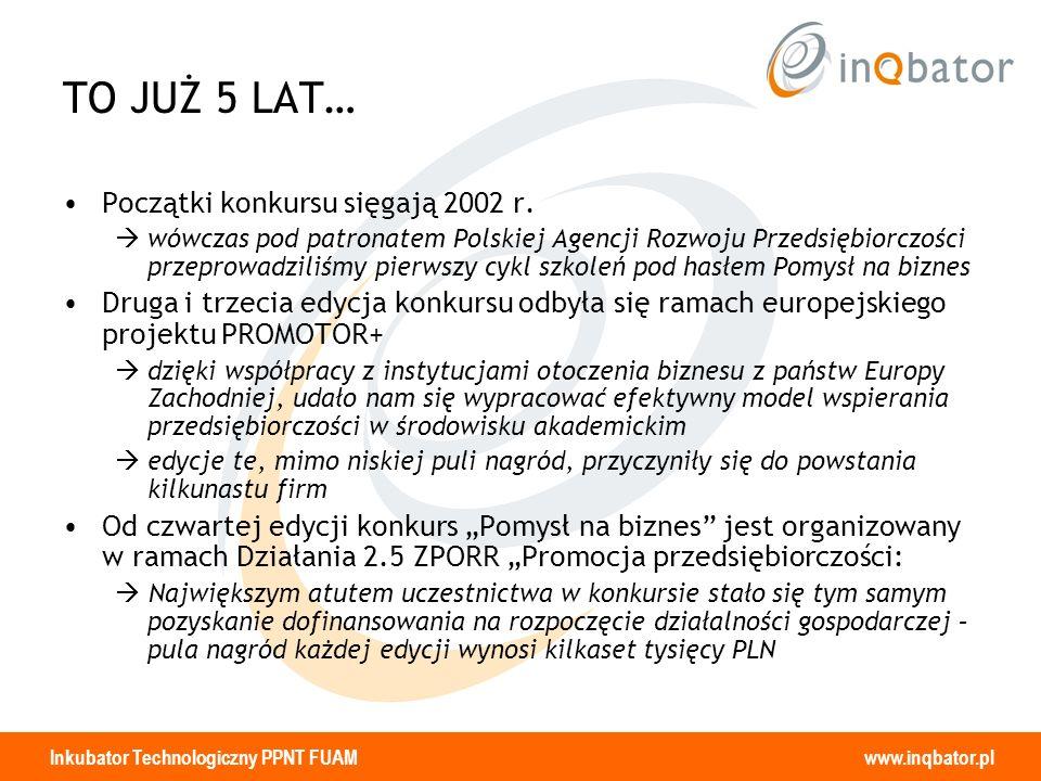 Inkubator Technologiczny PPNT FUAM www.inqbator.pl TO JUŻ 5 LAT… Początki konkursu sięgają 2002 r. wówczas pod patronatem Polskiej Agencji Rozwoju Prz
