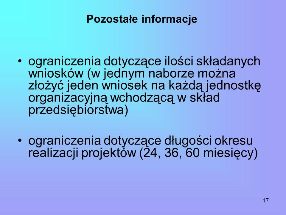 17 Pozostałe informacje ograniczenia dotyczące ilości składanych wniosków (w jednym naborze można złożyć jeden wniosek na każdą jednostkę organizacyjną wchodzącą w skład przedsiębiorstwa) ograniczenia dotyczące długości okresu realizacji projektów (24, 36, 60 miesięcy)