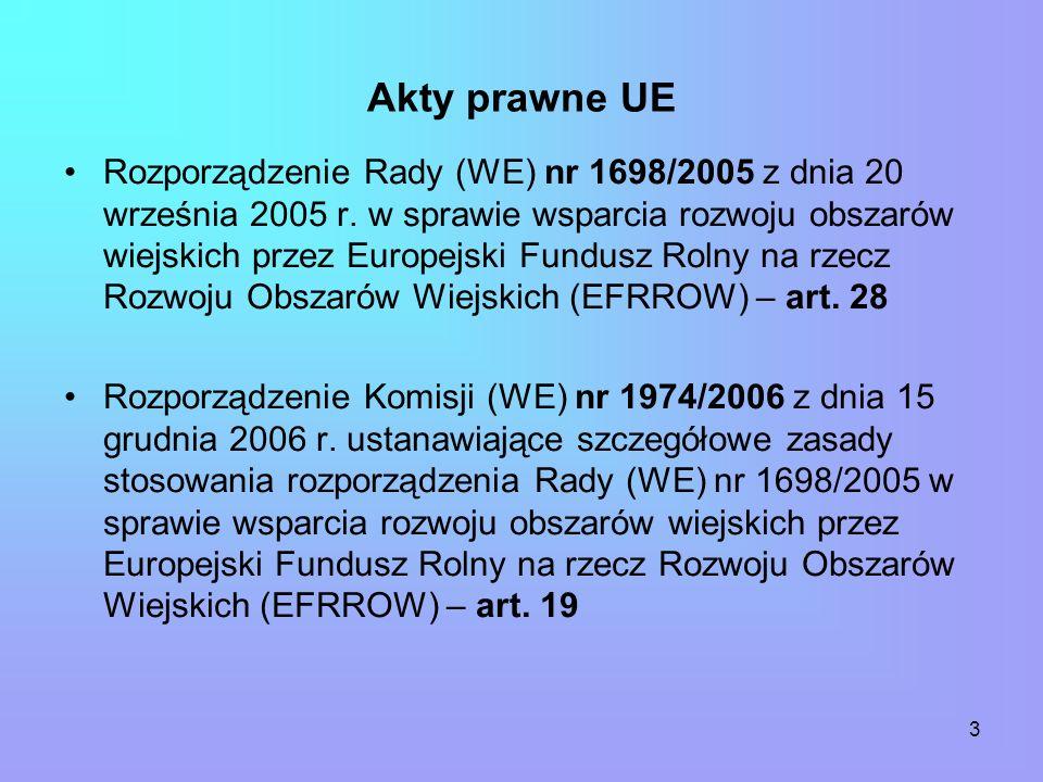 3 Akty prawne UE Rozporządzenie Rady (WE) nr 1698/2005 z dnia 20 września 2005 r.