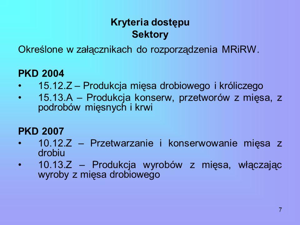 7 Kryteria dostępu Sektory Określone w załącznikach do rozporządzenia MRiRW.