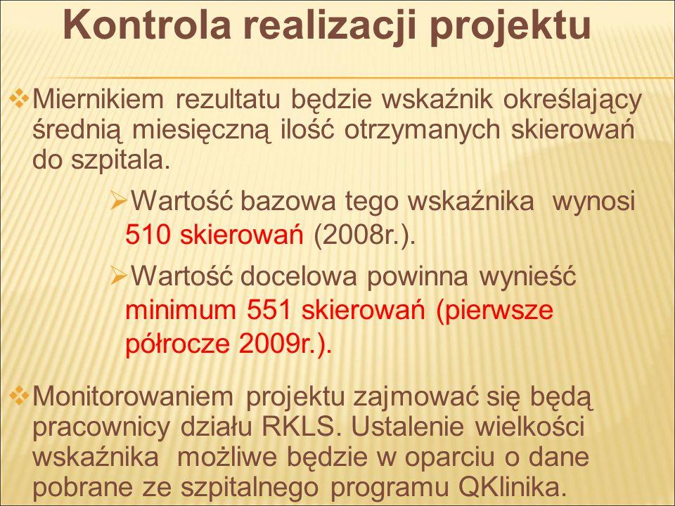 Kontrola realizacji projektu Miernikiem rezultatu będzie wskaźnik określający średnią miesięczną ilość otrzymanych skierowań do szpitala.