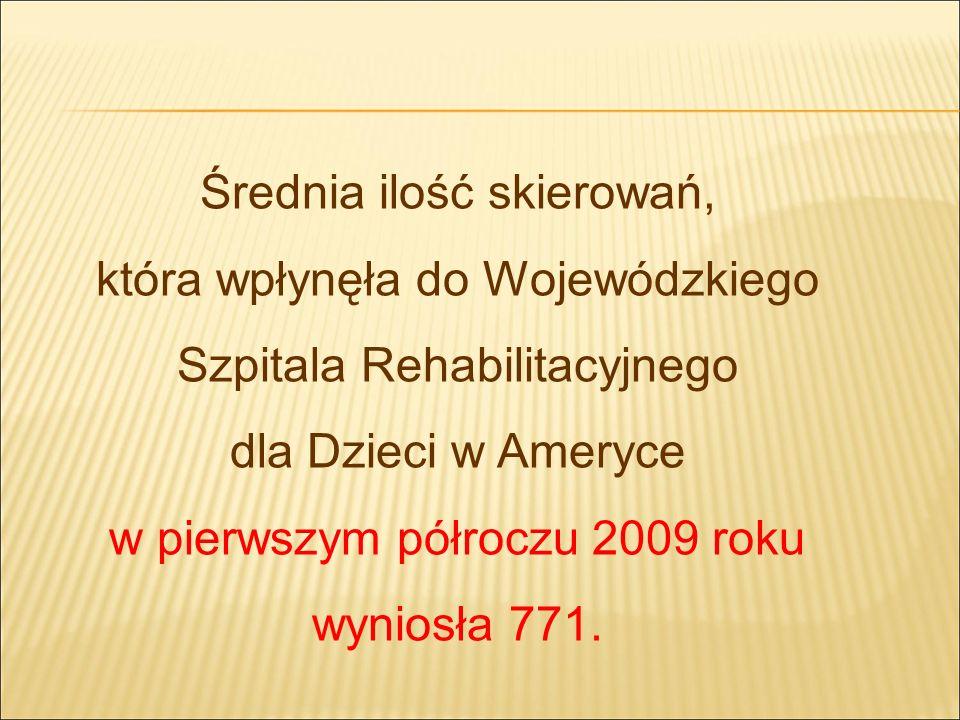 Średnia ilość skierowań, która wpłynęła do Wojewódzkiego Szpitala Rehabilitacyjnego dla Dzieci w Ameryce w pierwszym półroczu 2009 roku wyniosła 771.