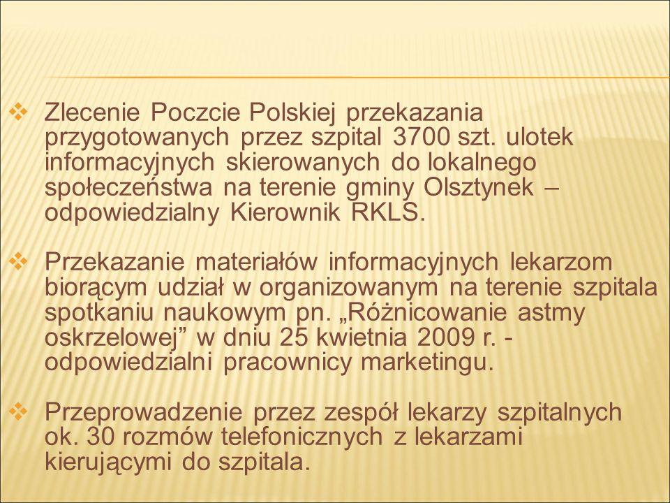 Zlecenie Poczcie Polskiej przekazania przygotowanych przez szpital 3700 szt.
