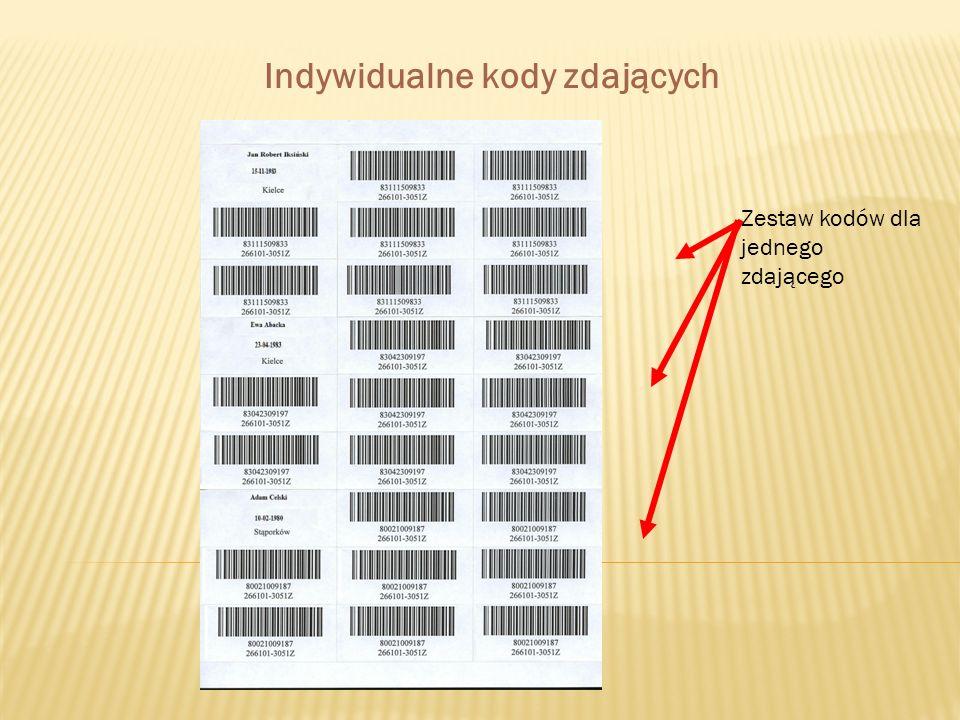 Zestaw kodów dla jednego zdającego Indywidualne kody zdających