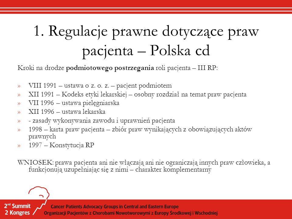 1. Regulacje prawne dotyczące praw pacjenta – Polska cd Kroki na drodze podmiotowego postrzegania roli pacjenta – III RP: »VIII 1991 – ustawa o z. o.