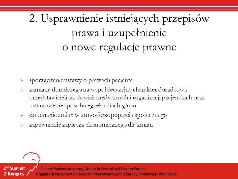 2. Usprawnienie istniejących przepisów prawa i uzupełnienie o nowe regulacje prawne »sporządzenie ustawy o prawach pacjenta »zamiana doradczego na wsp