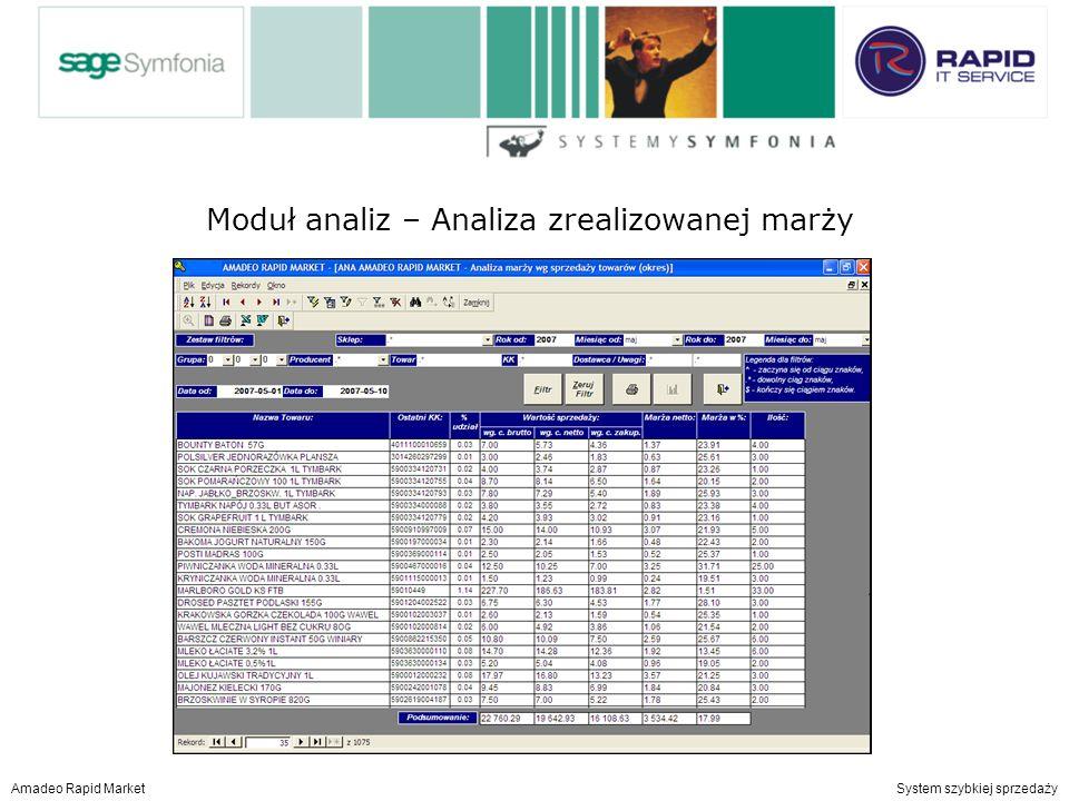Moduł analiz – centralny ranking towarów i producentów Amadeo Rapid Market System szybkiej sprzedaży Moduł analiz – Analiza zrealizowanej marży