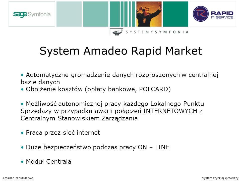 System Amadeo Rapid Market Amadeo Rapid Market System szybkiej sprzedaży Automatyczne gromadzenie danych rozproszonych w centralnej bazie danych Obniżenie kosztów (opłaty bankowe, POLCARD) Możliwość autonomicznej pracy każdego Lokalnego Punktu Sprzedaży w przypadku awarii połączeń INTERNETOWYCH z Centralnym Stanowiskiem Zarządzania Praca przez sieć internet Duże bezpieczeństwo podczas pracy ON – LINE Moduł Centrala