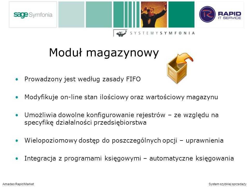 Moduł magazynowy Prowadzony jest według zasady FIFO Modyfikuje on-line stan ilościowy oraz wartościowy magazynu Umożliwia dowolne konfigurowanie rejestrów – ze względu na specyfikę działalności przedsiębiorstwa Wielopoziomowy dostęp do poszczególnych opcji – uprawnienia Integracja z programami księgowymi – automatyczne księgowania Amadeo Rapid Market System szybkiej sprzedaży