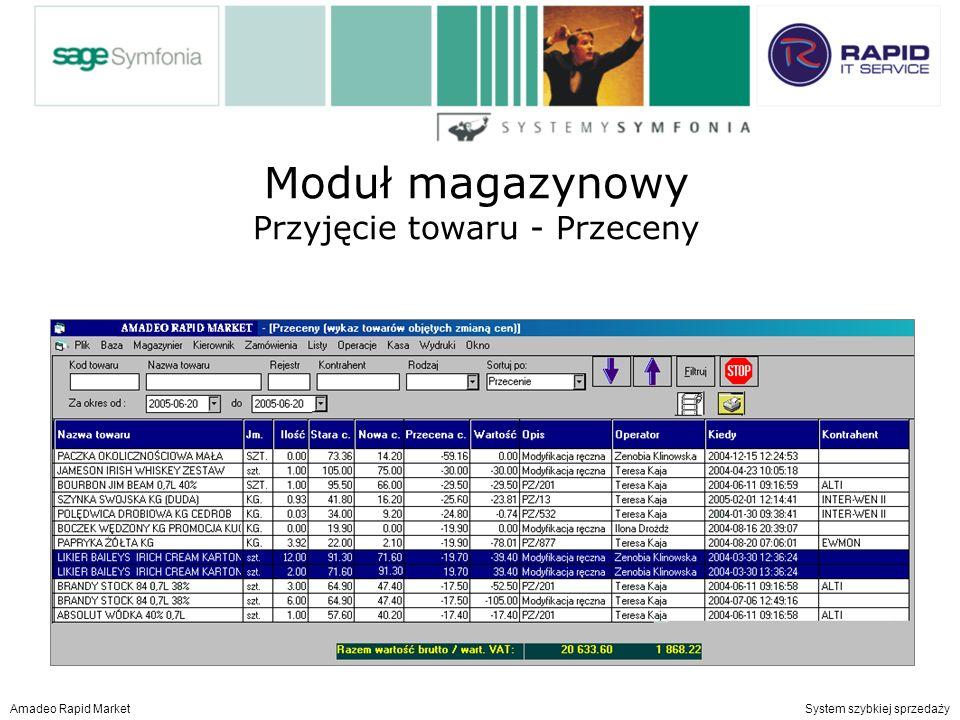 Moduł magazynowy Przyjęcie towaru przeceny Amadeo Rapid Market System szybkiej sprzedaży Moduł magazynowy Przyjęcie towaru - Przeceny