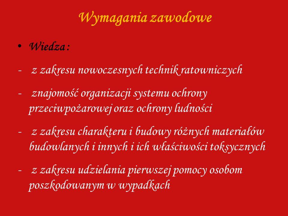 Wymagania zawodowe Wiedza : - z zakresu nowoczesnych technik ratowniczych - znajomość organizacji systemu ochrony przeciwpożarowej oraz ochrony ludnoś