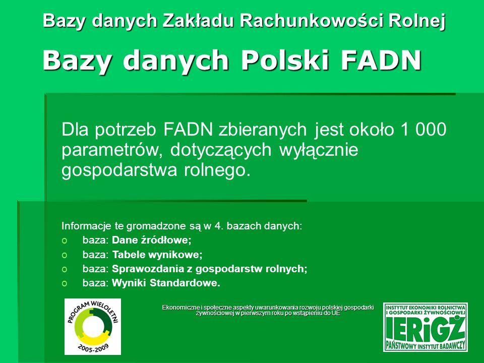 Ekonomiczne i społeczne aspekty uwarunkowania rozwoju polskiej gospodarki żywnościowej w pierwszym roku po wstąpieniu do UE Bazy danych Zakładu Rachunkowości Rolnej Baza: Dane źródłowe Bazy danych Polski FADN najobszerniejsza spośród baz Polskiego FADN; dostęp do danych bezpośrednio z serwera za pomocą zapytań SQL; baza zainstalowana na serwerze SQL; zawiera najbardziej szczegółowy opis gospodarstwa; dane przekazywane bezpośrednio z biur rachunkowych; przechowuje dane nieprzetworzone.