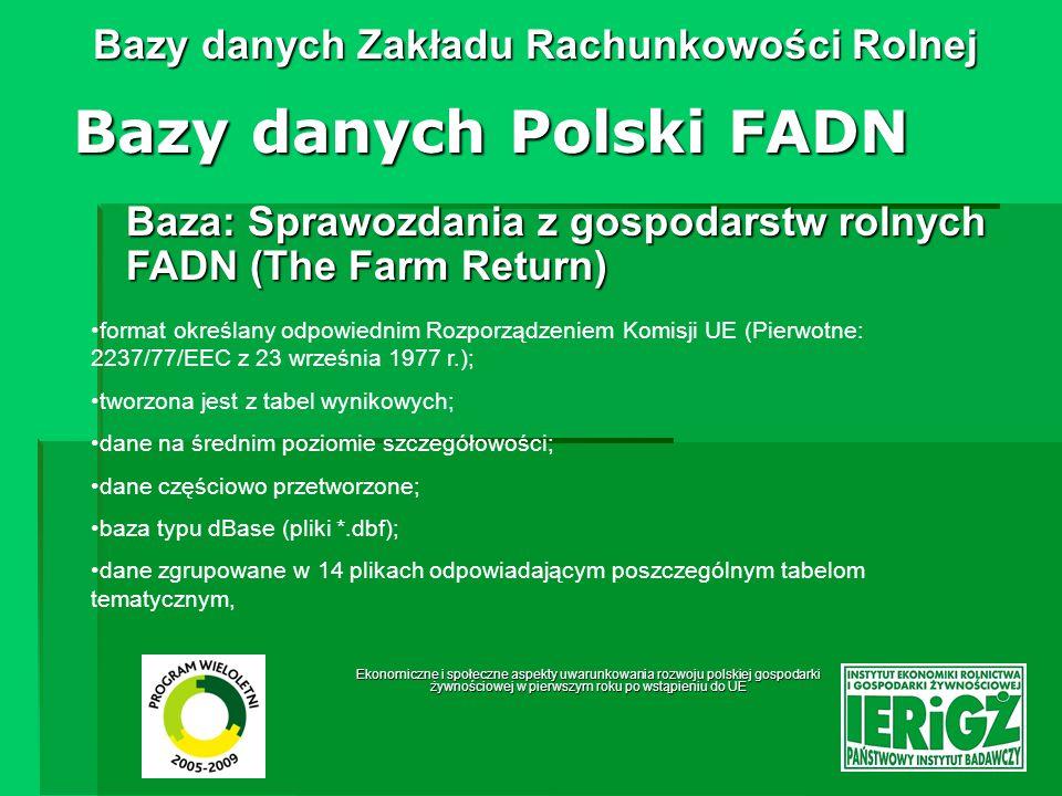 Ekonomiczne i społeczne aspekty uwarunkowania rozwoju polskiej gospodarki żywnościowej w pierwszym roku po wstąpieniu do UE Bazy danych Zakładu Rachunkowości Rolnej Struktura sprawozdania z gospodarstw rolnych FADN (The Farm Return) Bazy danych Polski FADN 1.