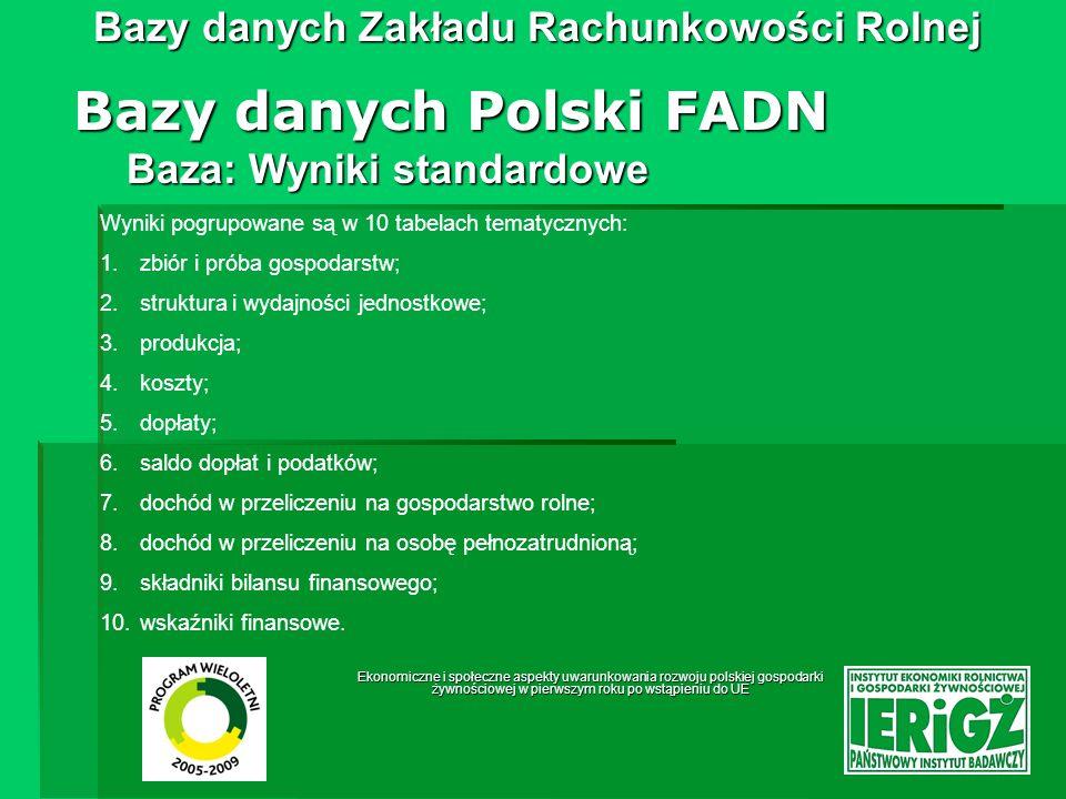 Ekonomiczne i społeczne aspekty uwarunkowania rozwoju polskiej gospodarki żywnościowej w pierwszym roku po wstąpieniu do UE Bazy danych Zakładu Rachunkowości Rolnej Baza: Wyniki standardowe Bazy danych Polski FADN Struktura wyników standardowych została opisana w dokumencie Komitetu do spraw FADN; RI/CC 882 rev.