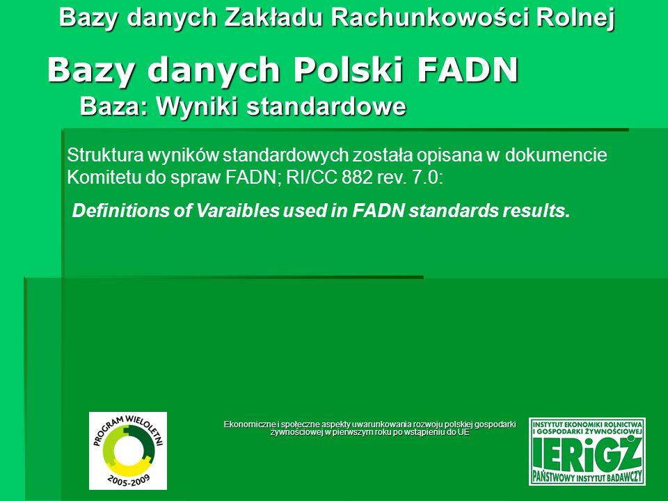 Ekonomiczne i społeczne aspekty uwarunkowania rozwoju polskiej gospodarki żywnościowej w pierwszym roku po wstąpieniu do UE Bazy danych Zakładu Rachunkowości Rolnej Bazy danych Systemu zbierania danych o produktach rolniczych Baza: działalności produkcji roślinnej - towarowej Dane pogrupowane są w 4 blokach tematycznych: Produkcja Ceny Koszty bezpośrednie Dopłaty