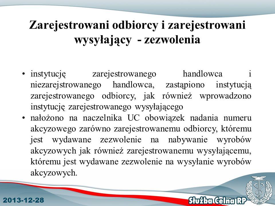 2013-12-28 Zarejestrowani odbiorcy i zarejestrowani wysyłający - zezwolenia instytucję zarejestrowanego handlowca i niezarejstrowanego handlowca, zast
