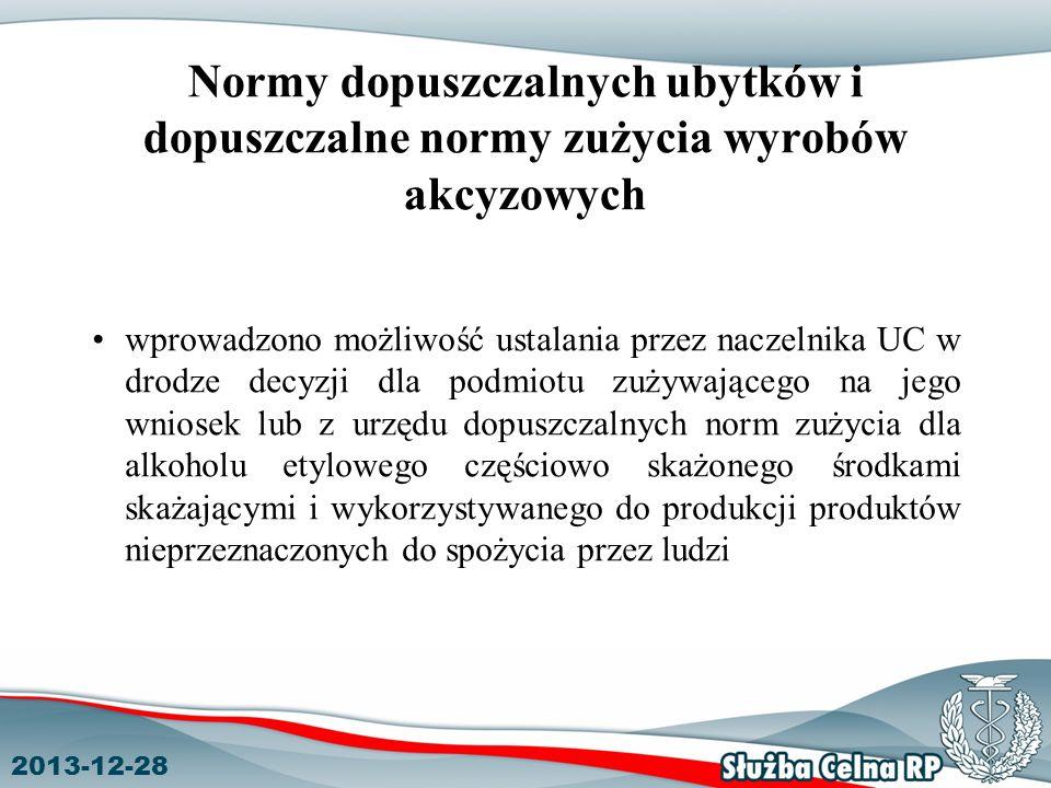 2013-12-28 Normy dopuszczalnych ubytków i dopuszczalne normy zużycia wyrobów akcyzowych wprowadzono możliwość ustalania przez naczelnika UC w drodze d