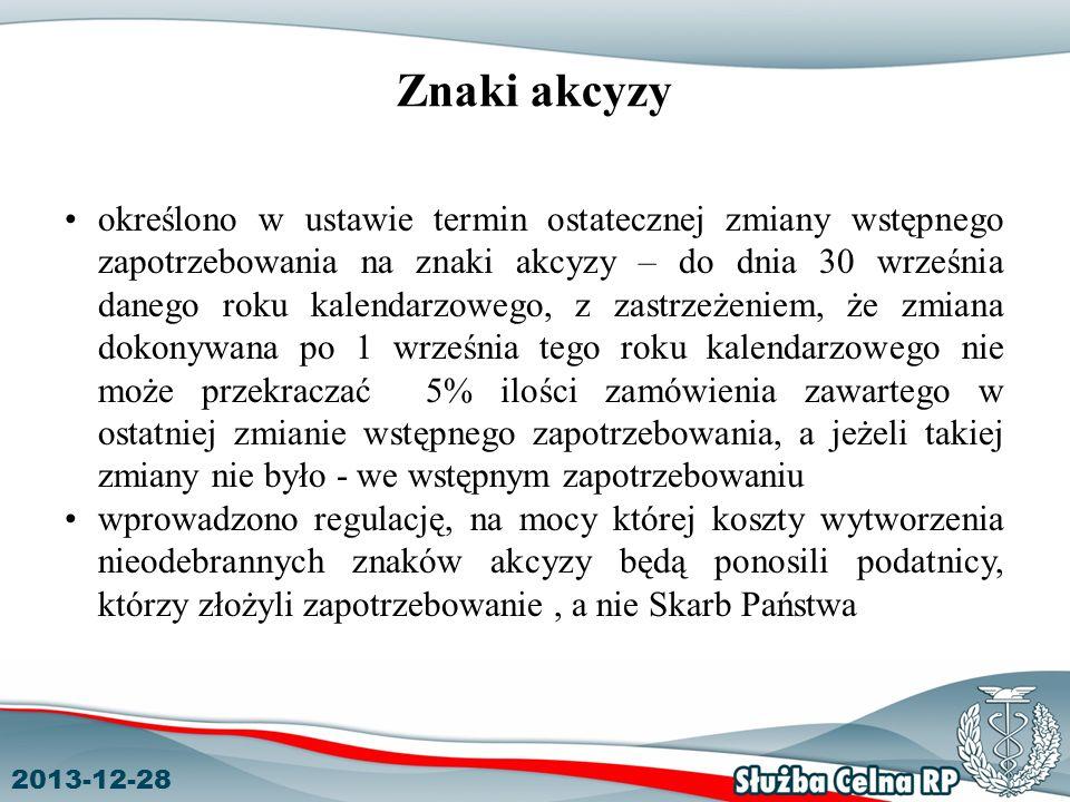 2013-12-28 Znaki akcyzy określono w ustawie termin ostatecznej zmiany wstępnego zapotrzebowania na znaki akcyzy – do dnia 30 września danego roku kale