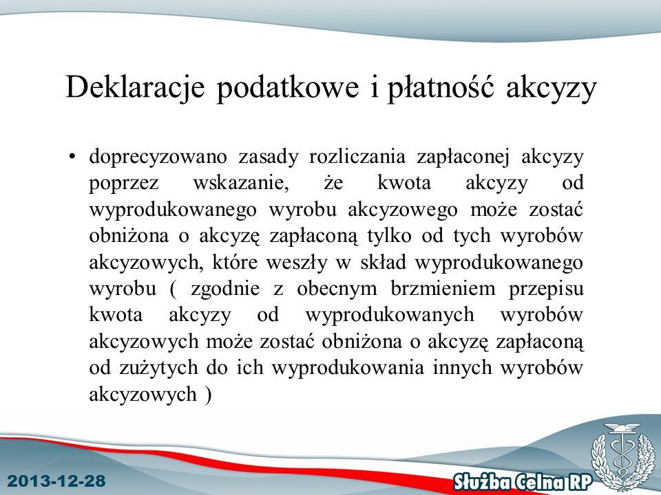 2013-12-28 Deklaracje podatkowe i płatność akcyzy doprecyzowano zasady rozliczania zapłaconej akcyzy poprzez wskazanie, że kwota akcyzy od wyprodukowa
