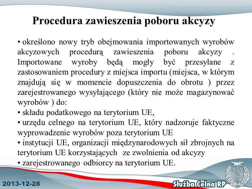 2013-12-28 Procedura zawieszenia poboru akcyzy określono nowy tryb obejmowania importowanych wyrobów akcyzowych procedurą zawieszenia poboru akcyzy.