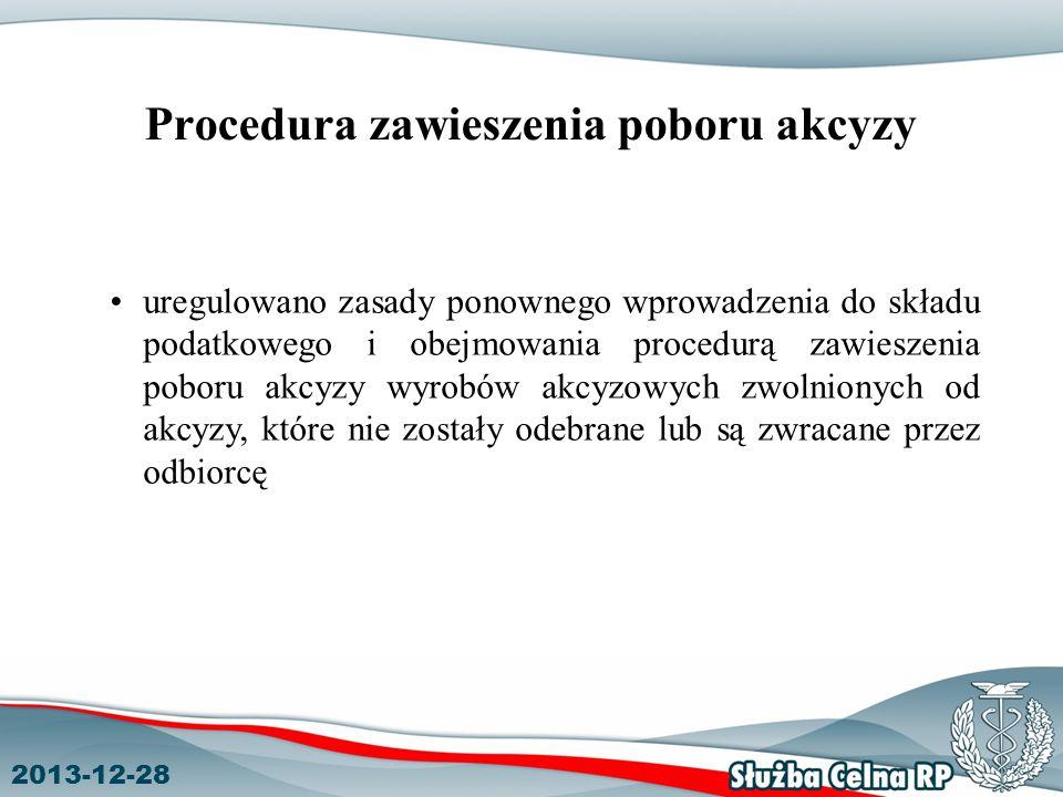 2013-12-28 Procedura zawieszenia poboru akcyzy uregulowano zasady ponownego wprowadzenia do składu podatkowego i obejmowania procedurą zawieszenia poboru akcyzy wyrobów akcyzowych zwolnionych od akcyzy, które nie zostały odebrane lub są zwracane przez odbiorcę