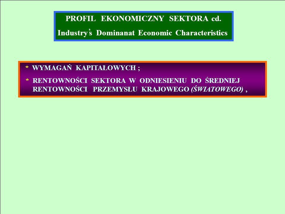 PROFIL EKONOMICZNY SEKTORA cd. Industry s Dominanat Economic Characteristics * WYMAGAŃ KAPITAŁOWYCH ; * RENTOWNOŚCI SEKTORA W ODNIESIENIU DO ŚREDNIEJ