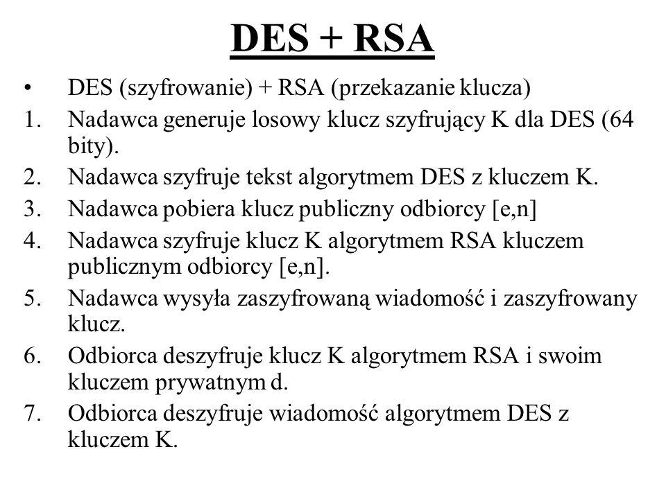 DES + RSA DES (szyfrowanie) + RSA (przekazanie klucza) 1.Nadawca generuje losowy klucz szyfrujący K dla DES (64 bity). 2.Nadawca szyfruje tekst algory