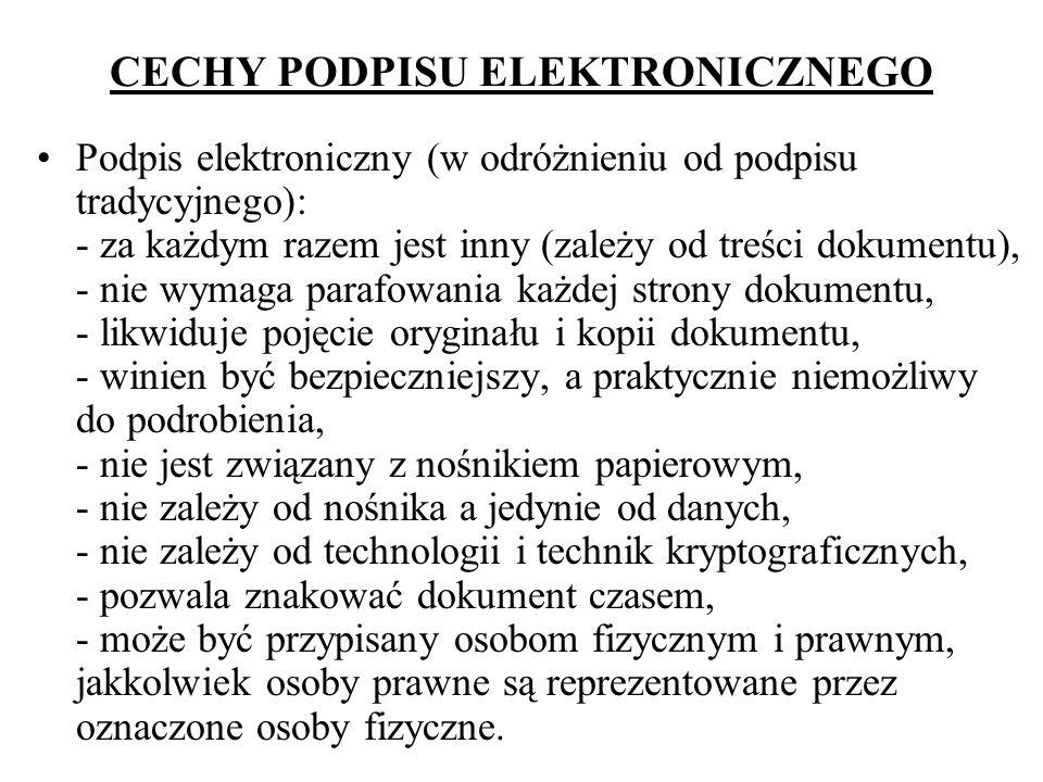 CECHY PODPISU ELEKTRONICZNEGO Podpis elektroniczny (w odróżnieniu od podpisu tradycyjnego): - za każdym razem jest inny (zależy od treści dokumentu),