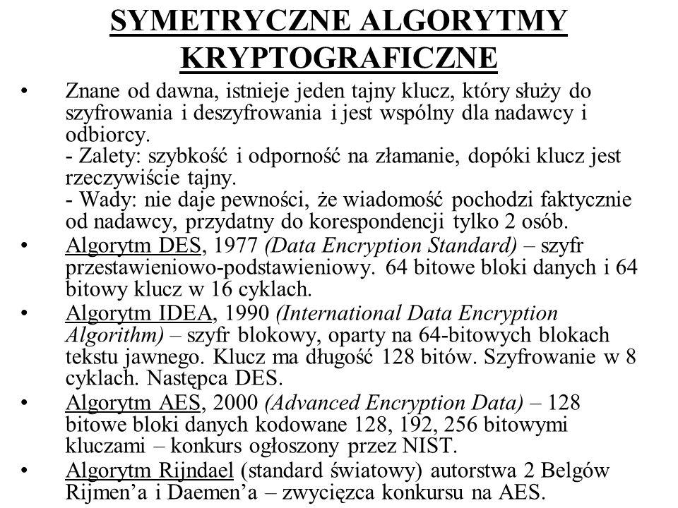 SYMETRYCZNE ALGORYTMY KRYPTOGRAFICZNE Znane od dawna, istnieje jeden tajny klucz, który służy do szyfrowania i deszyfrowania i jest wspólny dla nadawc