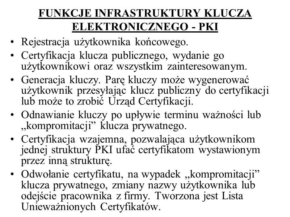 FUNKCJE INFRASTRUKTURY KLUCZA ELEKTRONICZNEGO - PKI Rejestracja użytkownika końcowego. Certyfikacja klucza publicznego, wydanie go użytkownikowi oraz