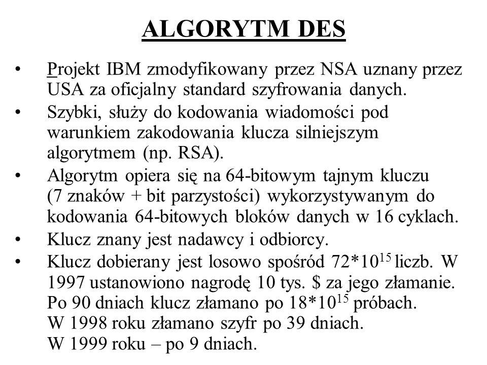 ZASADA ALGORYTMU DES DES Tekst jawny (64 bity) Szyfrogram (64 bity) Klucz (54 bity +8 bitów parzystości)