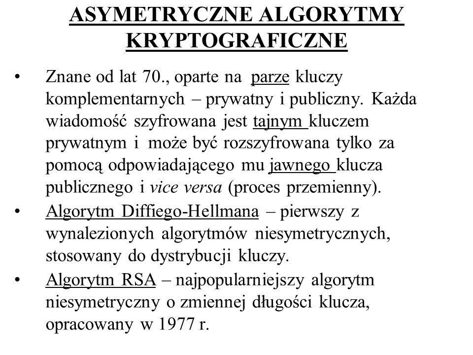 ASYMETRYCZNE ALGORYTMY KRYPTOGRAFICZNE Znane od lat 70., oparte na parze kluczy komplementarnych – prywatny i publiczny. Każda wiadomość szyfrowana je