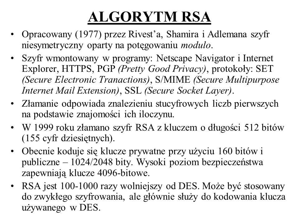 ALGORYTM RSA Opracowany (1977) przez Rivesta, Shamira i Adlemana szyfr niesymetryczny oparty na potęgowaniu modulo. Szyfr wmontowany w programy: Netsc