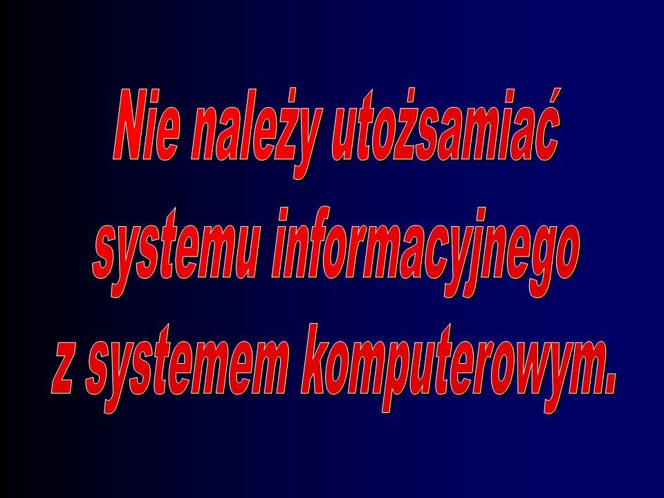Składowe systemu informacyjnego Wejście: –zbieranie luźnych danych Proces przetwarzania: –transformacja danych w informacje Wyjście: –transmisja infor