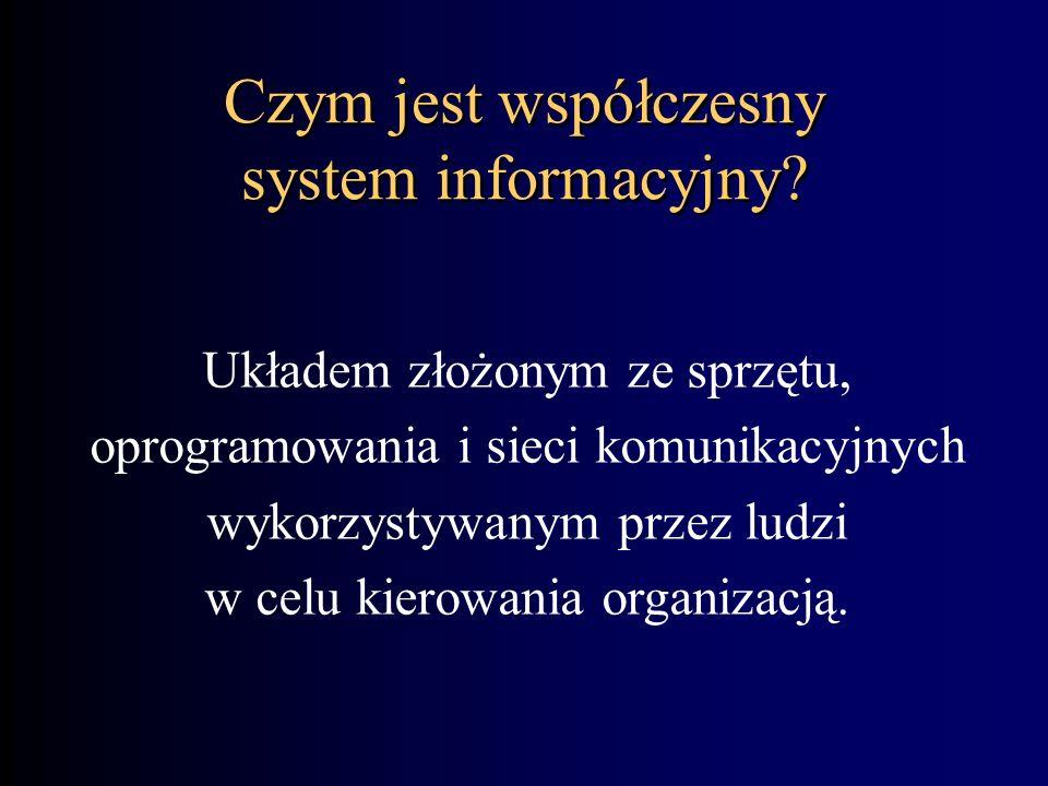 Współczesne systemy informacyjne Ludzie Sprzęt Oprogramowanie Telekomunikacja Dane System informacyjny