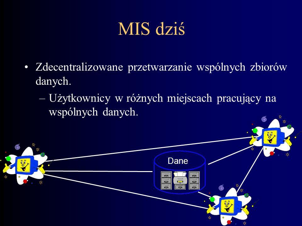 MIS 10 lat temu Zdecentralizowane przetwarzanie izolowanych zbiorów danych. –Wykorzystanie różnorodnych technik komputerowych w zależności od profilu