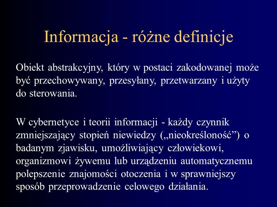 Dane Zarejestrowane fakty. Stanowią wejście systemu informacyjnego. Atrybuty informacji: Źródło (nadawca). Kanał komunikacyjny. Odbiorca. Informacja D