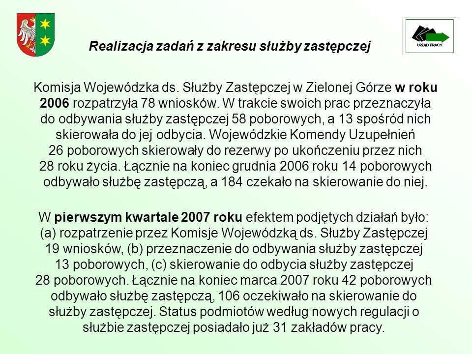 Komisja Wojewódzka ds. Służby Zastępczej w Zielonej Górze w roku 2006 rozpatrzyła 78 wniosków. W trakcie swoich prac przeznaczyła do odbywania służby