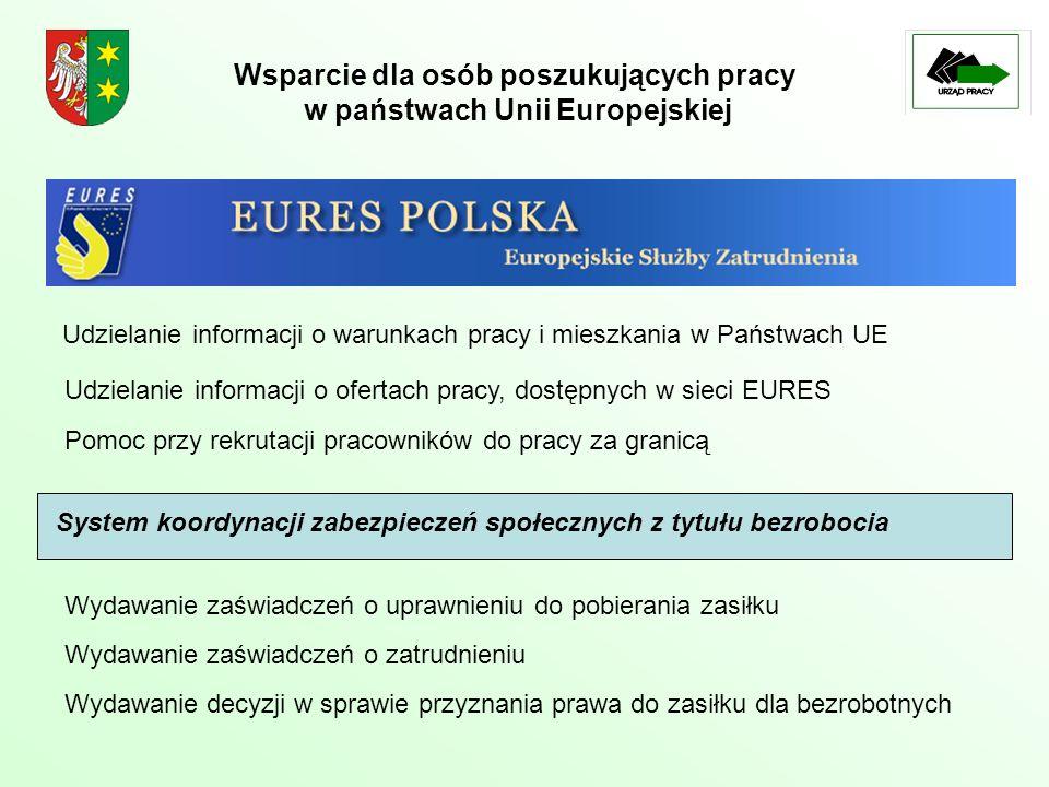 Wsparcie dla osób poszukujących pracy w państwach Unii Europejskiej System koordynacji zabezpieczeń społecznych z tytułu bezrobocia Wydawanie zaświadc