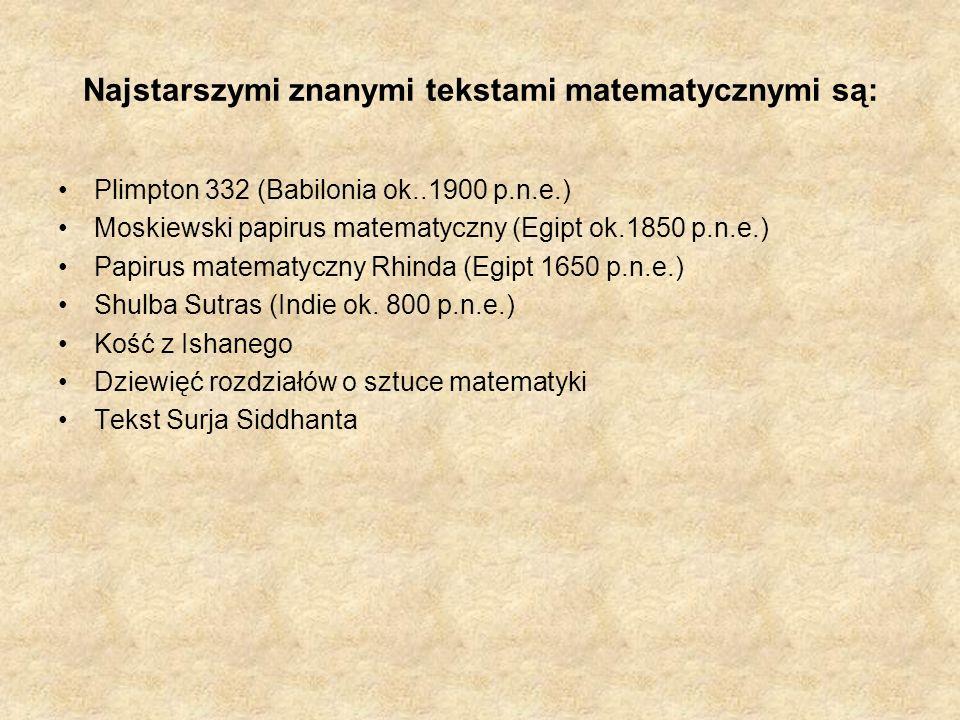 Najstarszymi znanymi tekstami matematycznymi są: Plimpton 332 (Babilonia ok..1900 p.n.e.) Moskiewski papirus matematyczny (Egipt ok.1850 p.n.e.) Papir