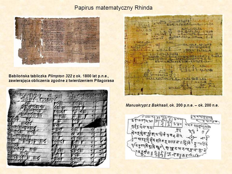 Papirus matematyczny Rhinda Babilońska tabliczka Plimpton 322 z ok. 1800 lat p.n.e., zawierająca obliczenia zgodne z twierdzeniem Pitagorasa Manuskryp