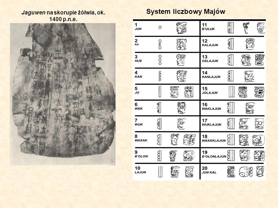 Jaguwen na skorupie żółwia, ok. 1400 p.n.e. System liczbowy Majów