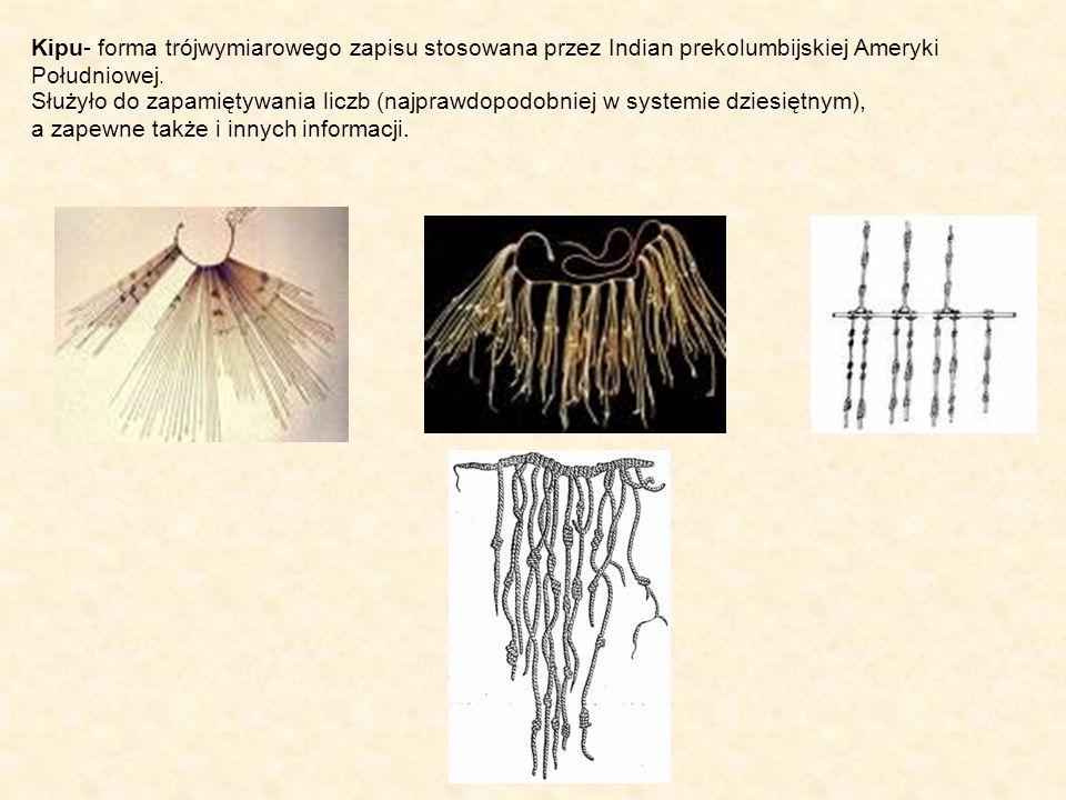 Kipu- forma trójwymiarowego zapisu stosowana przez Indian prekolumbijskiej Ameryki Południowej. Służyło do zapamiętywania liczb (najprawdopodobniej w