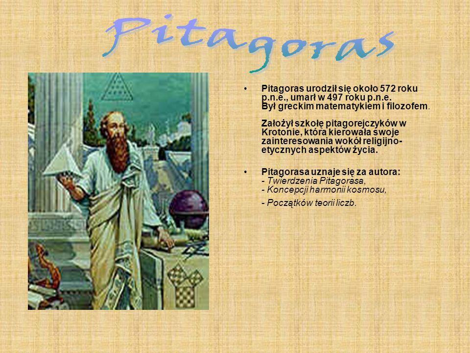Pitagoras urodził się około 572 roku p.n.e., umarł w 497 roku p.n.e. Był greckim matematykiem i filozofem. Założył szkołę pitagorejczyków w Krotonie,