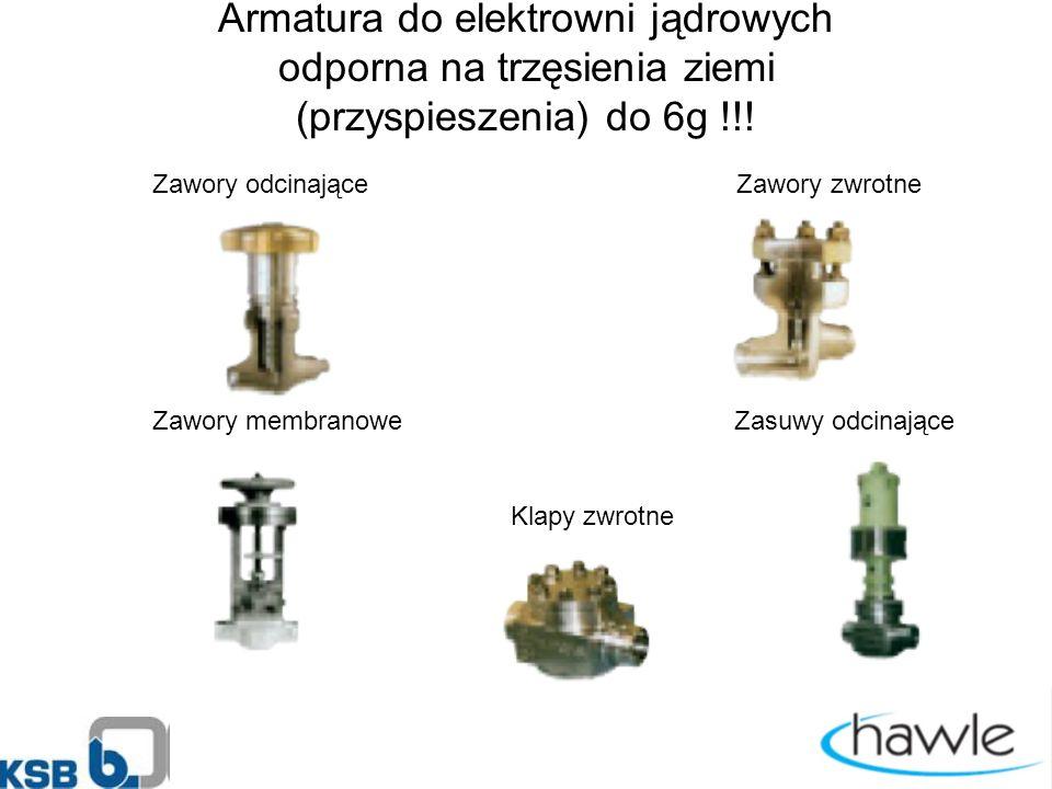Armatura do elektrowni jądrowych odporna na trzęsienia ziemi (przyspieszenia) do 6g !!.