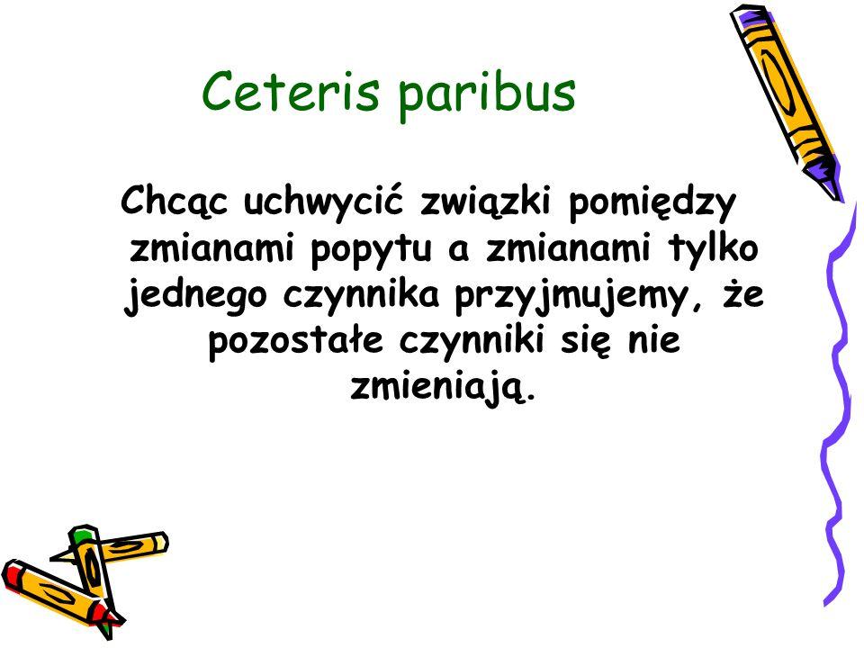 Ceteris paribus Chcąc uchwycić związki pomiędzy zmianami popytu a zmianami tylko jednego czynnika przyjmujemy, że pozostałe czynniki się nie zmieniają