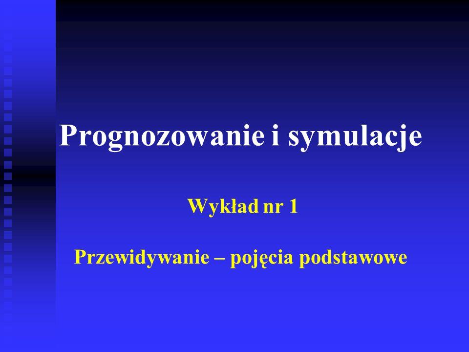 n Mierniki dokładności ex ante – przy założeniu znajomości rozkładu zmiennej prognozowanej lub rozkładu błędu prognozy u Wariancja błędu prognozy V{Y t - y * t } i pierwiastek z tej wariancji u Kwadrat obciążenia predykcji (E{Y t } - y * t ) 2 u Względny średni błąd predykcji: Mierniki dokładności predykcji (3) Jednymz zastosowań mierników ex ante jest ustalenie maksymalnego horyzontu prognozy.