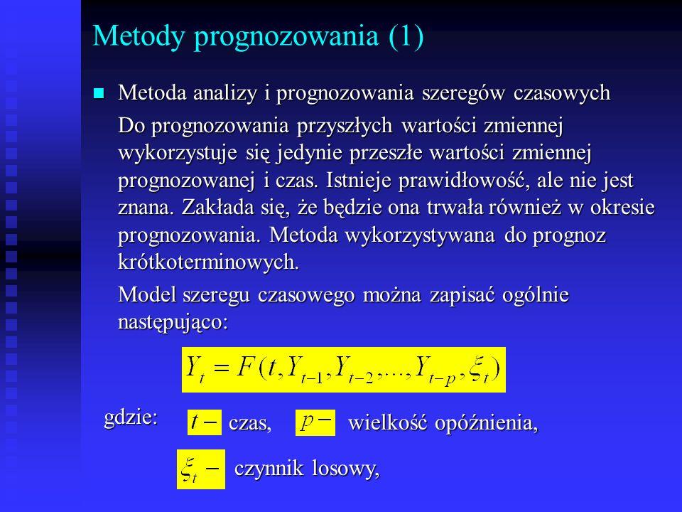 Metody prognozowania (1) n Metoda analizy i prognozowania szeregów czasowych Do prognozowania przyszłych wartości zmiennej wykorzystuje się jedynie pr