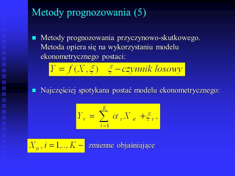 Metody prognozowania (5) n Metody prognozowania przyczynowo-skutkowego. Metoda opiera się na wykorzystaniu modelu ekonometrycznego postaci: n Najczęśc